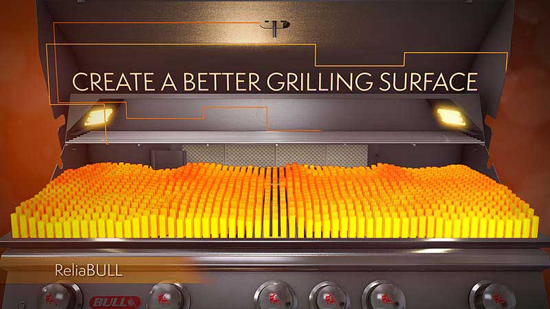 Reliabull nodrošina 100% grillēšanas virsmu